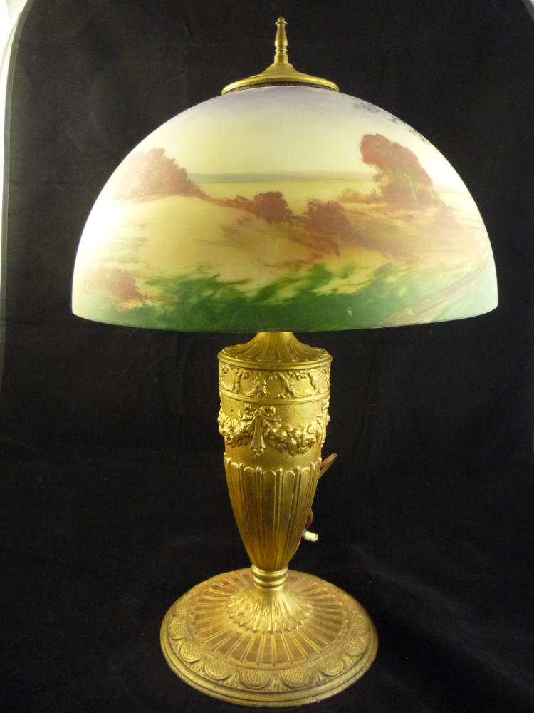 hand painted glass shade lamp