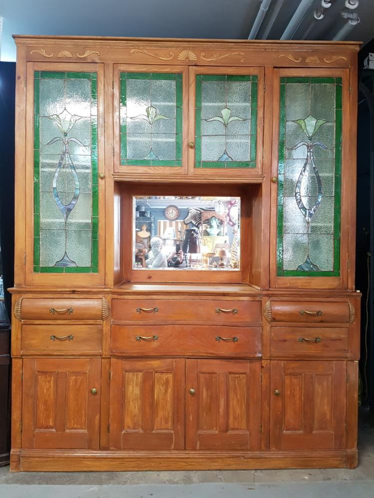Large Antique Kitchen Hutch with Stained Glass Panels