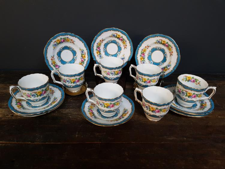 7 Crown Staffordshire Teacups and 8 Underplates