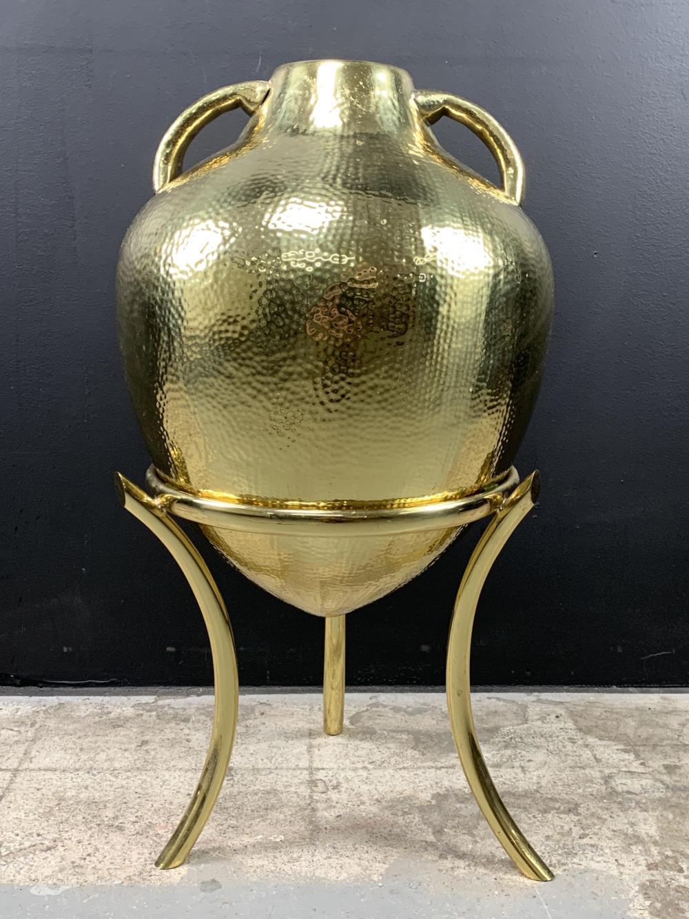 Hollywood Regency Style Hammered Gilt Urn On Stand