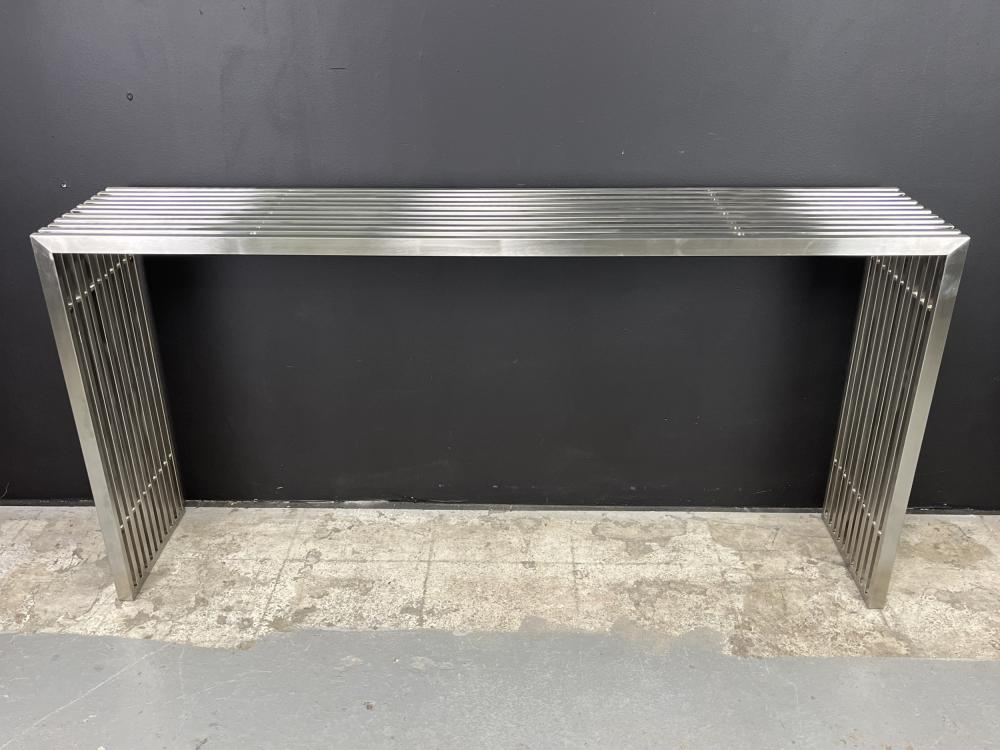 Vintage Post Modern Stainless Steel Console Table