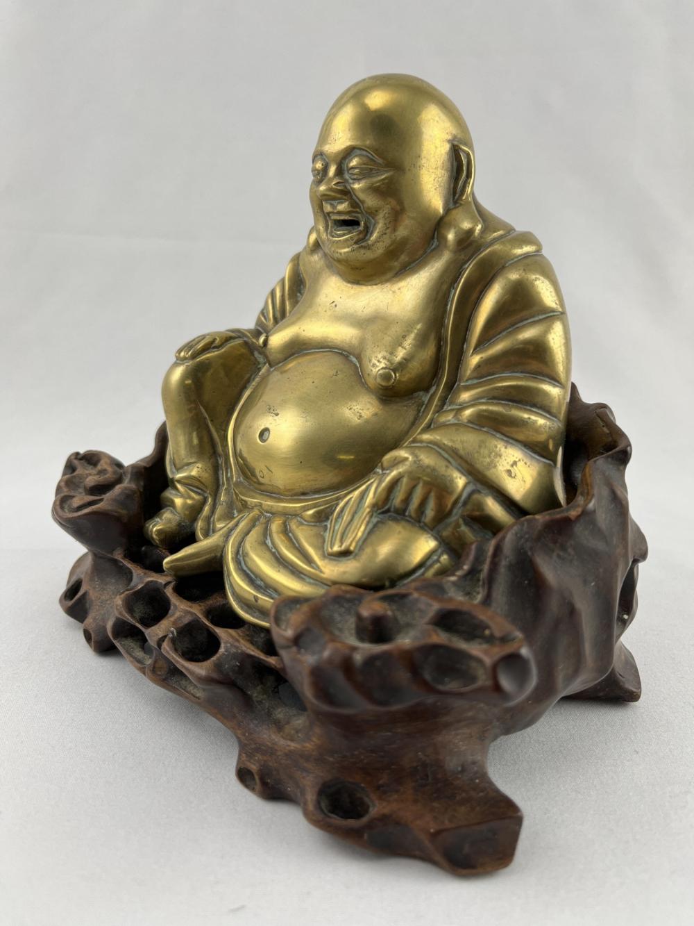 Antique Chinese Bronze Buddha on Stand