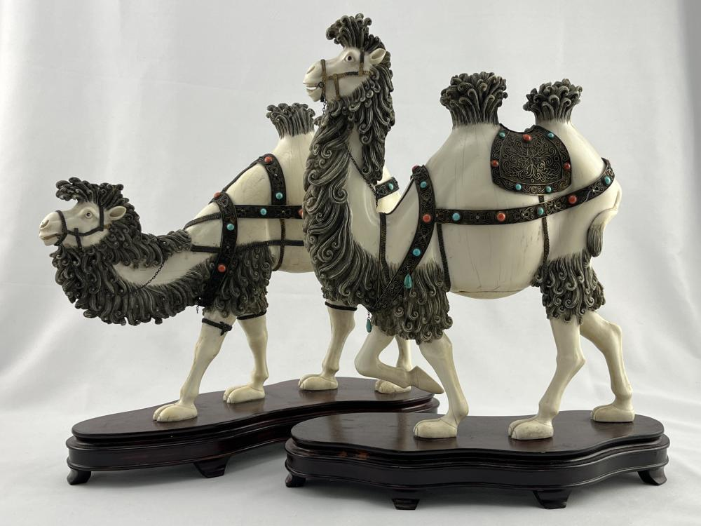 Rare Pair Chinese Ivory Camels Silver Filligree