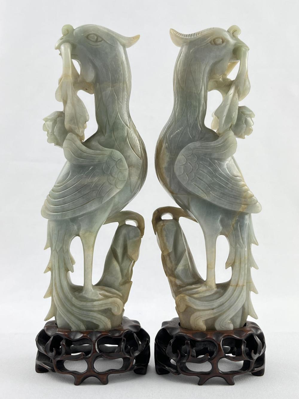 Pair of Chinese Jadeite Carved Birds, Phoenixes
