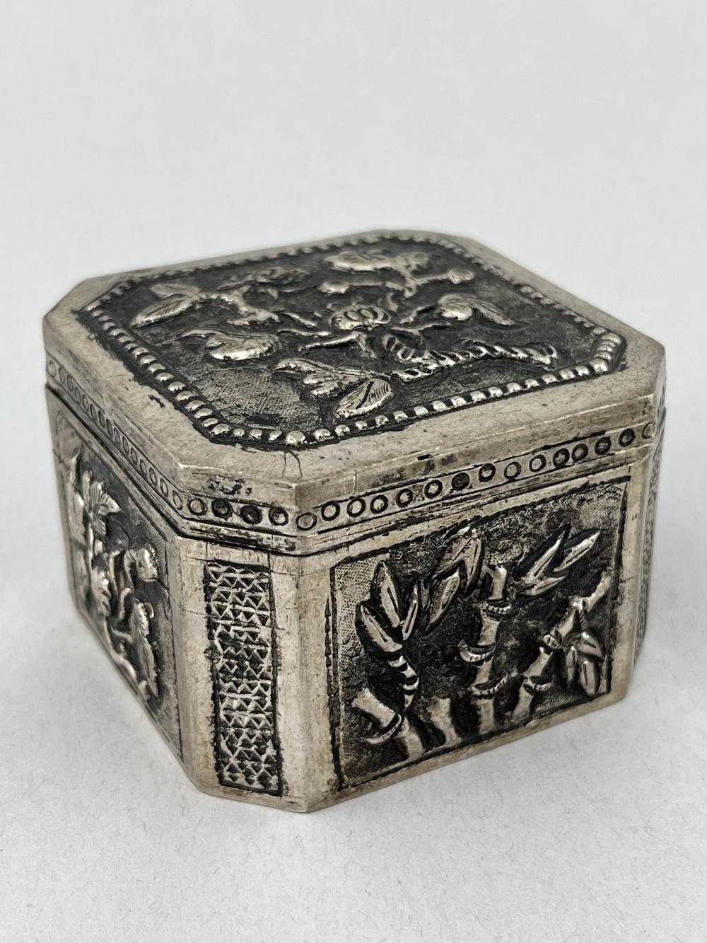 Chinese Silver Lidded Box