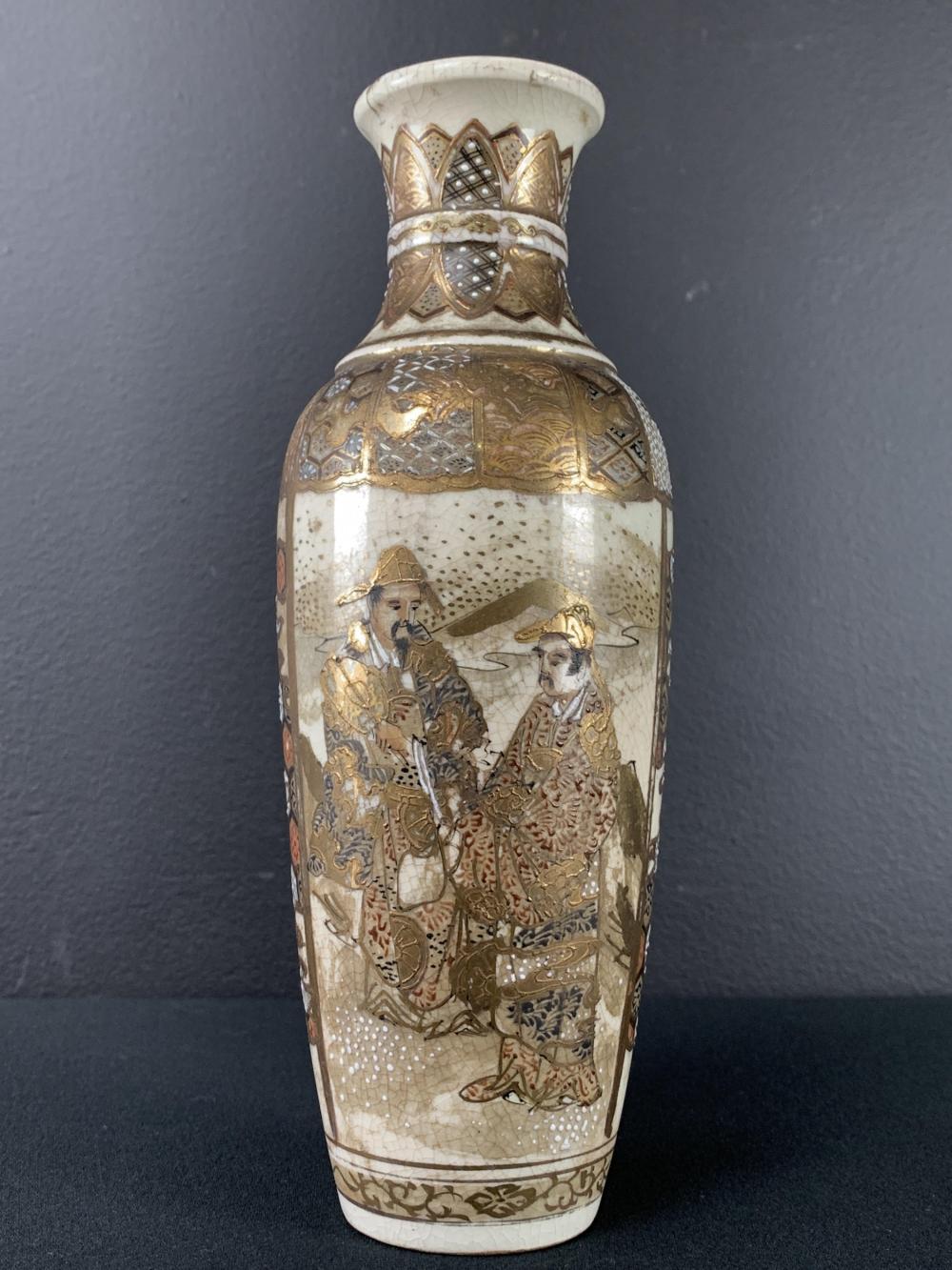 19th C Japanese Satsuma Warrior Wiseman Vase, Gilt