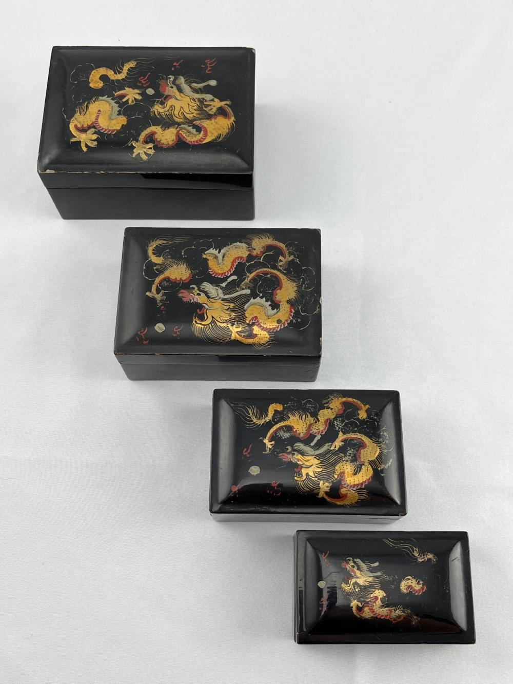 4 Japanese Black Lacquer Dragon Nesting Boxes