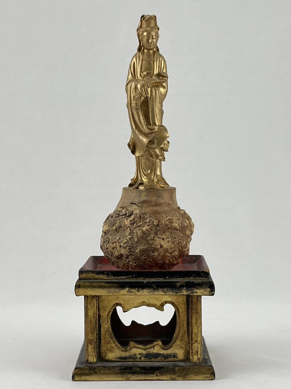 Chinese Japanese Wood Carved Guan Yin
