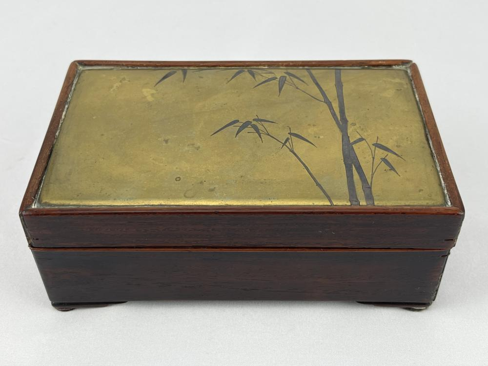 Japanese Tea Box, Brass Bamboo Lid