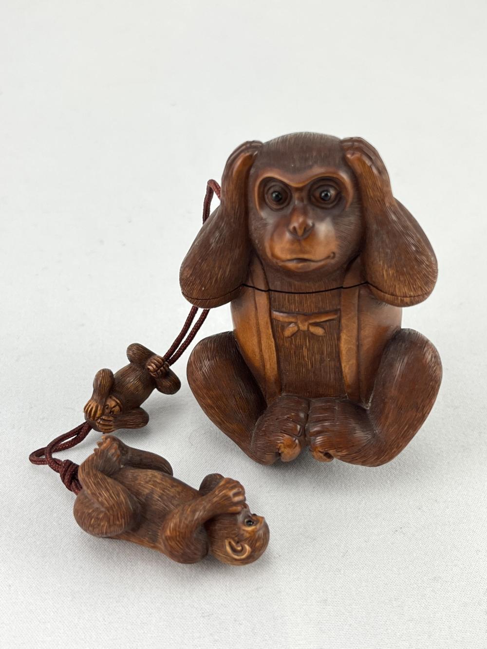 SIgned Japanese Monkey Inro