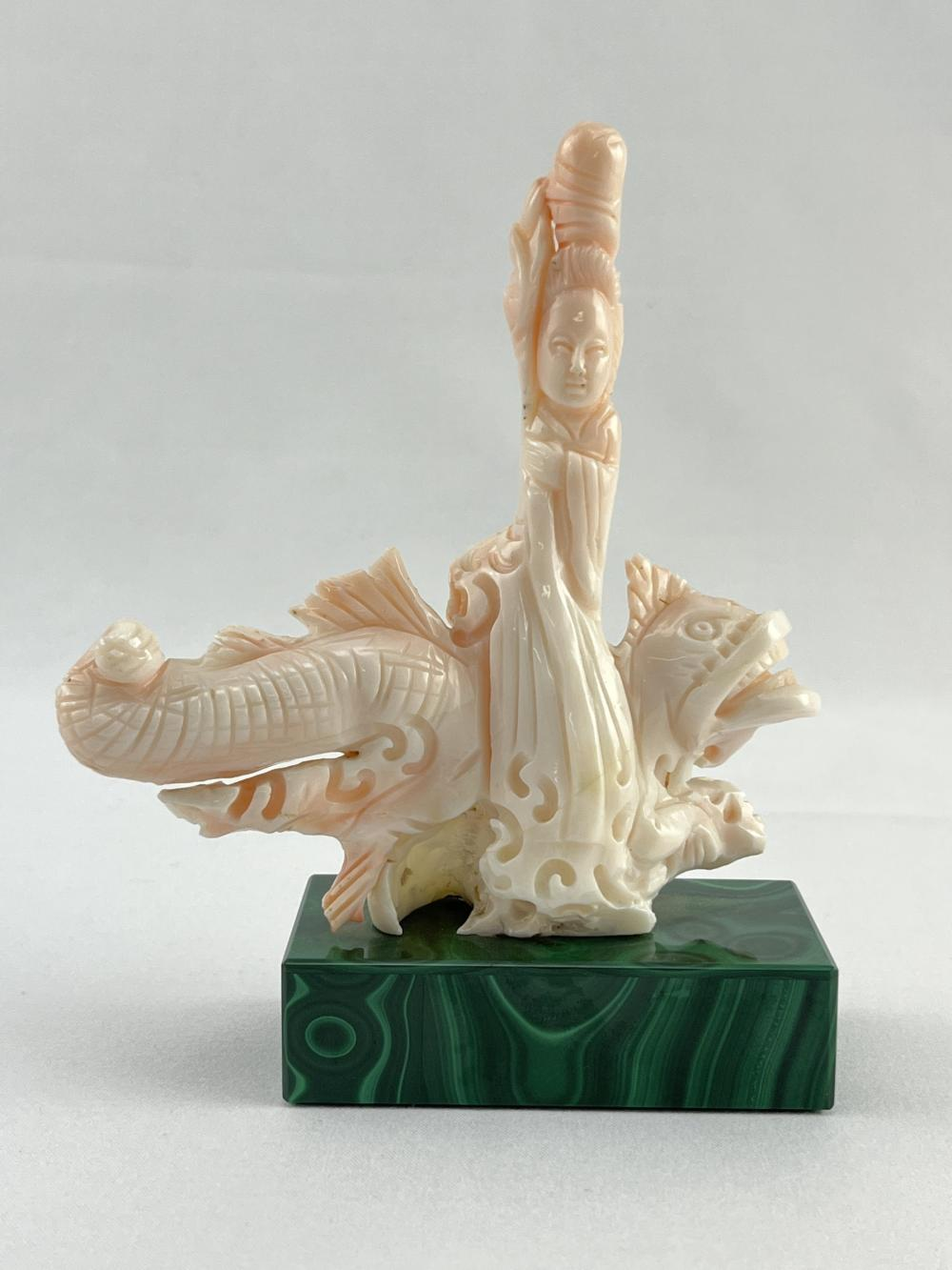 Chinese Carved Coral Sculpture on Malachite Base