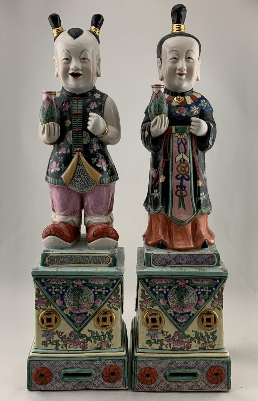 Lot Of 2 Large Chinese Figural Porcelain Statues