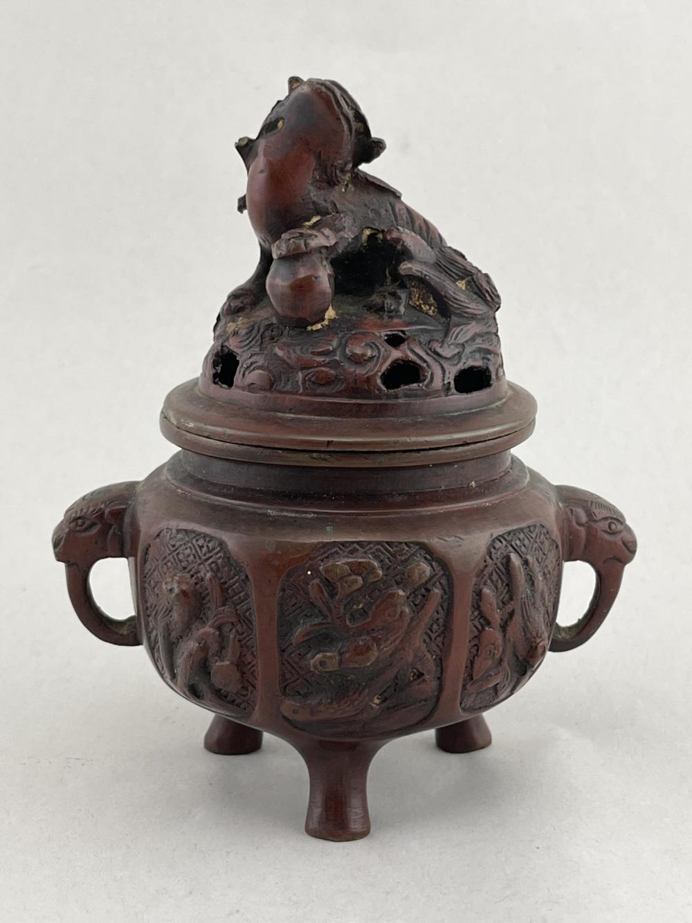 Chinese Bronze Lidded Incense Burner, Foo Lion