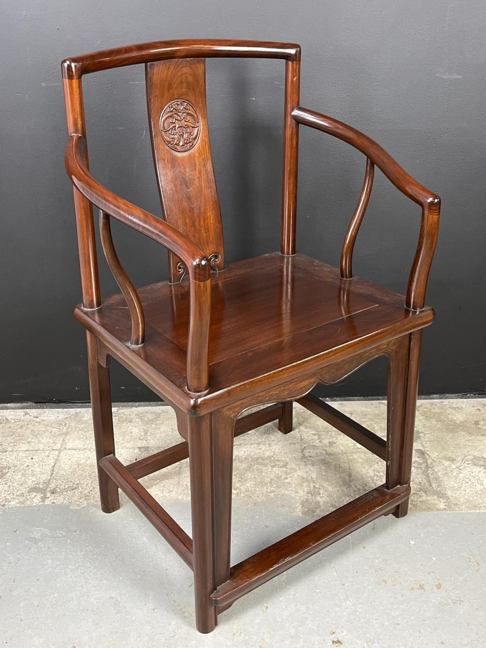 Chinese Rosewood Finely Carved Armchair