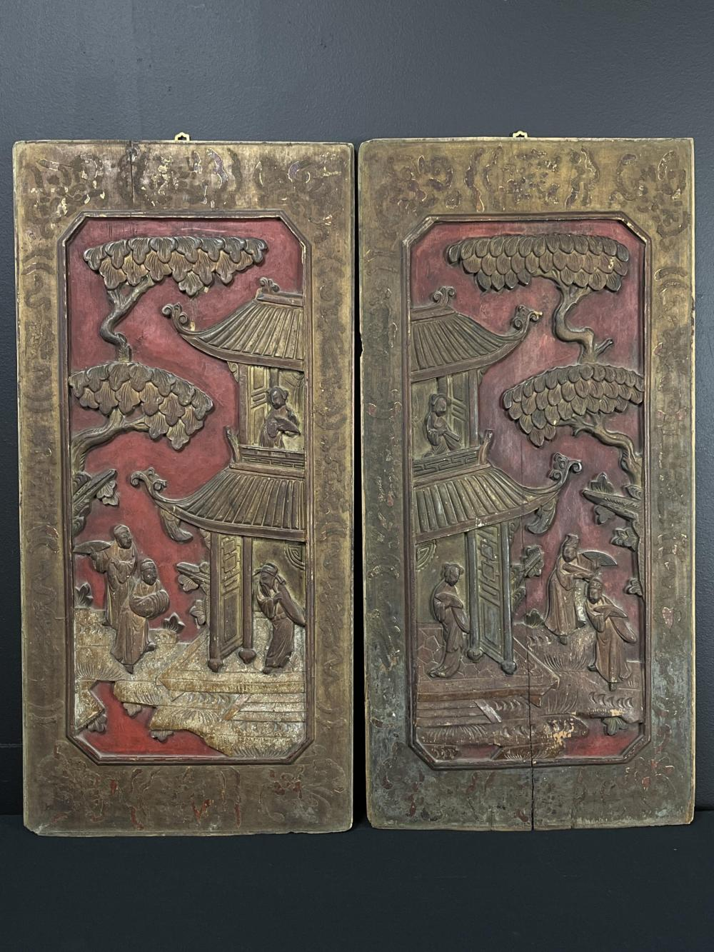 Pair Of Chinese Low Relief Carved Panels