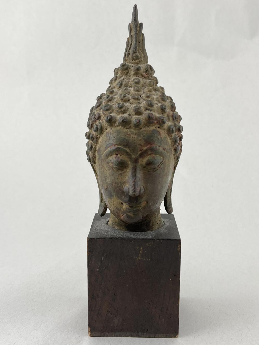 Bronze Thai Buddha Head On Wood Plinth