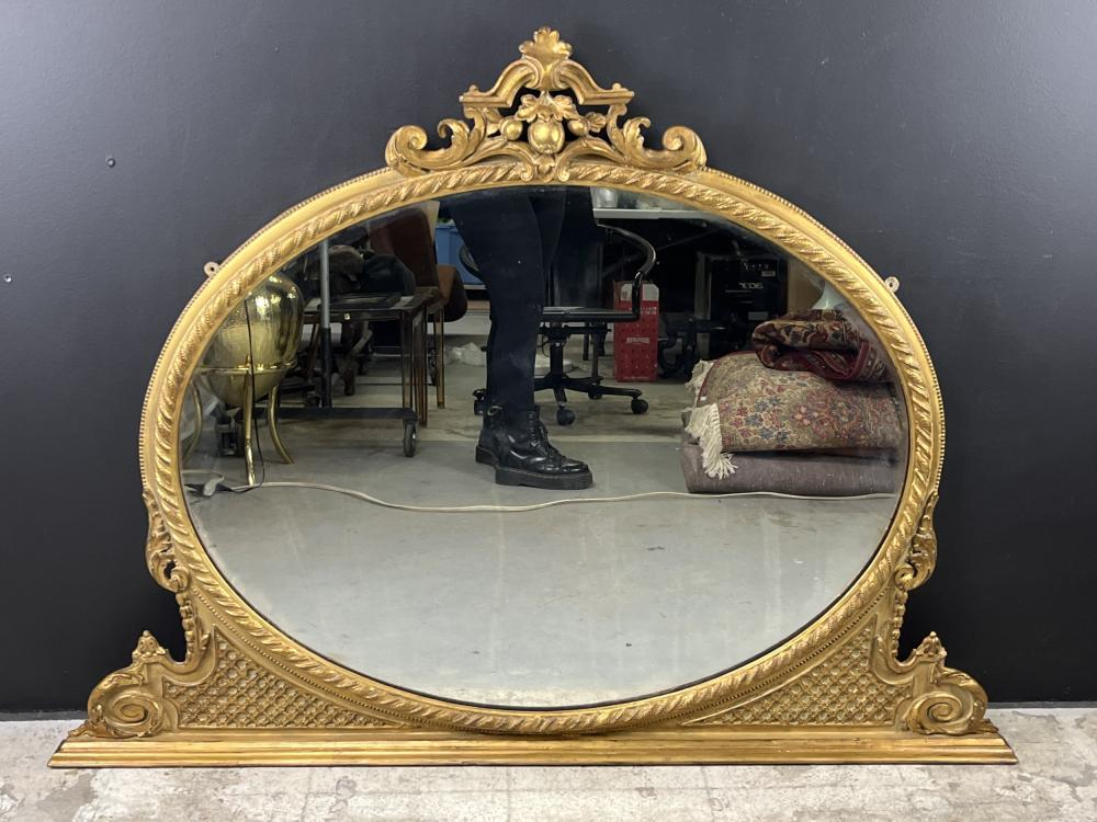 19th C English Gilt Oval Overmantle Mirror
