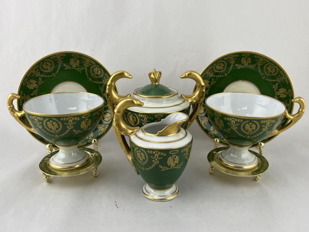 Limoges French Empire Gilt Tea Service, Napoleon