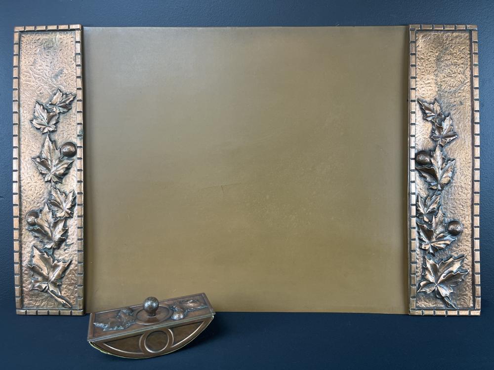 1940s Albert Gilles Copper Desk Pad and Blotter