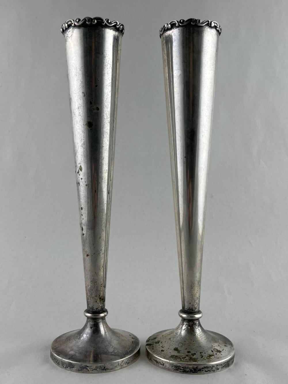 Pair Of Austrian Silver 800 Vases, Antal Bachruch