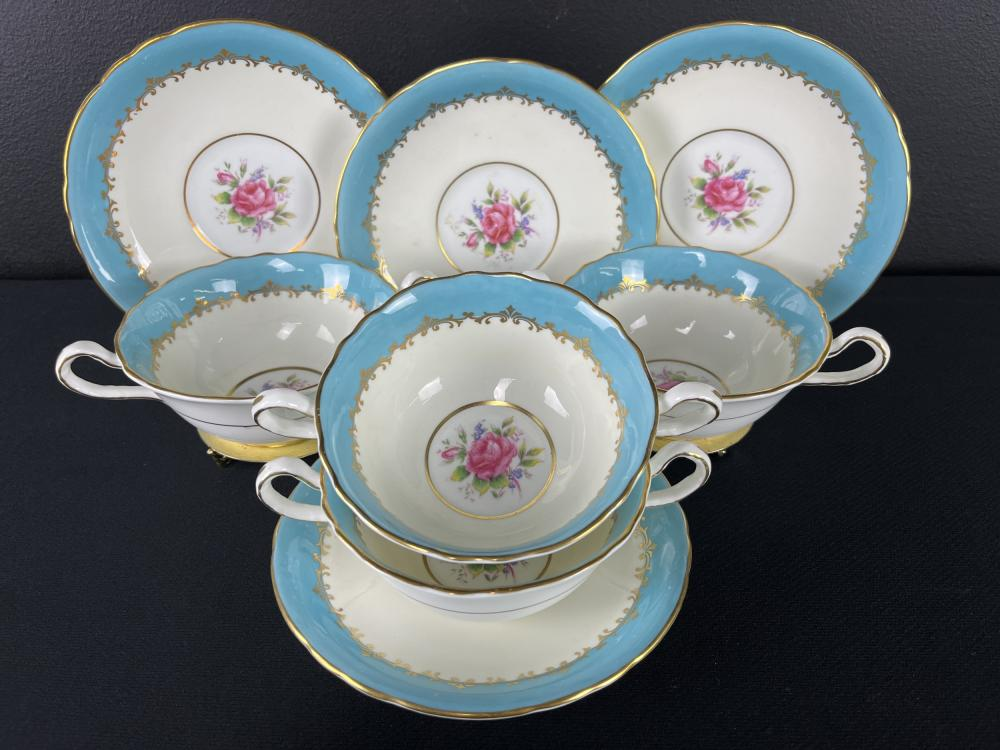 Set Of 4 Aynsley Soup Consomme Bowls, Roses