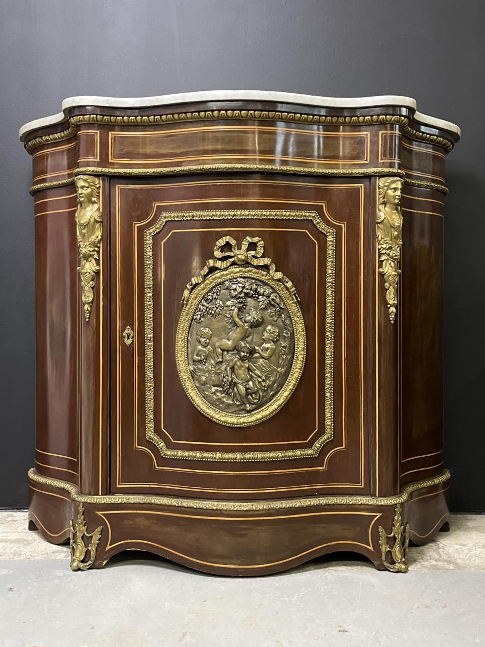 Antique French Napoleon III Bronze Medallion Cabinet