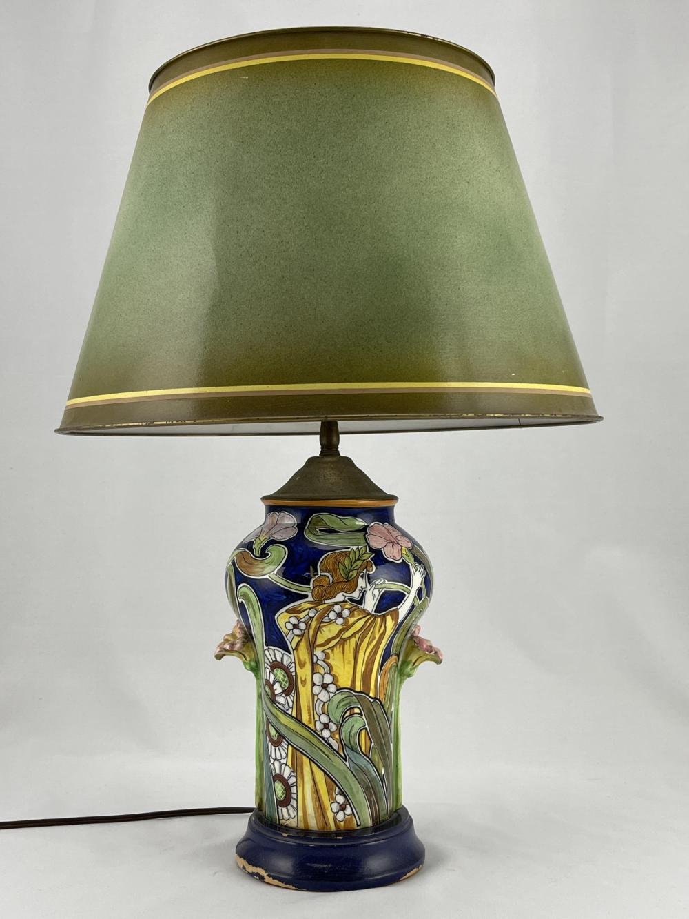 Art Nouveau Majolica Floral Lamp