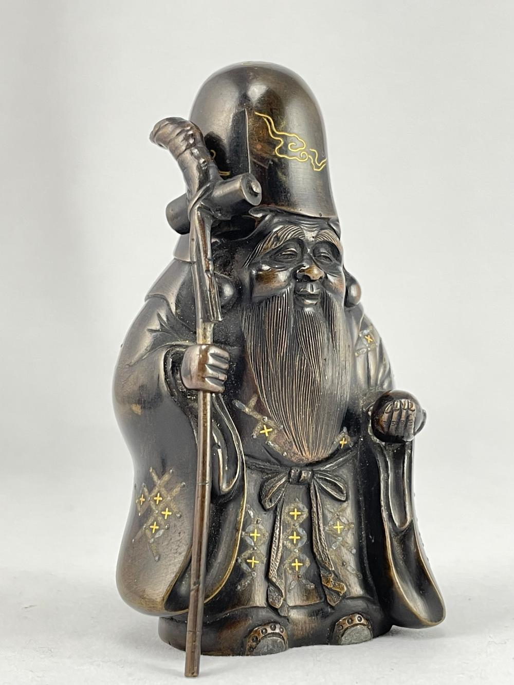 Antique Japanese Mixed Metal Bronze Figure