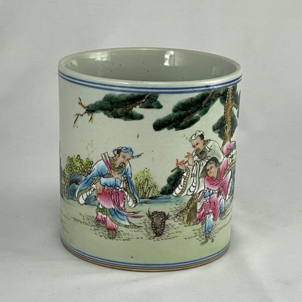 Chinese Painted Porcelain Signed Brush Pot