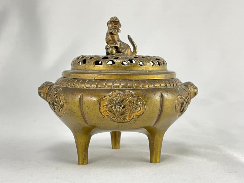 Antique Chinese Parcel Gilt Bronze Incense Burner