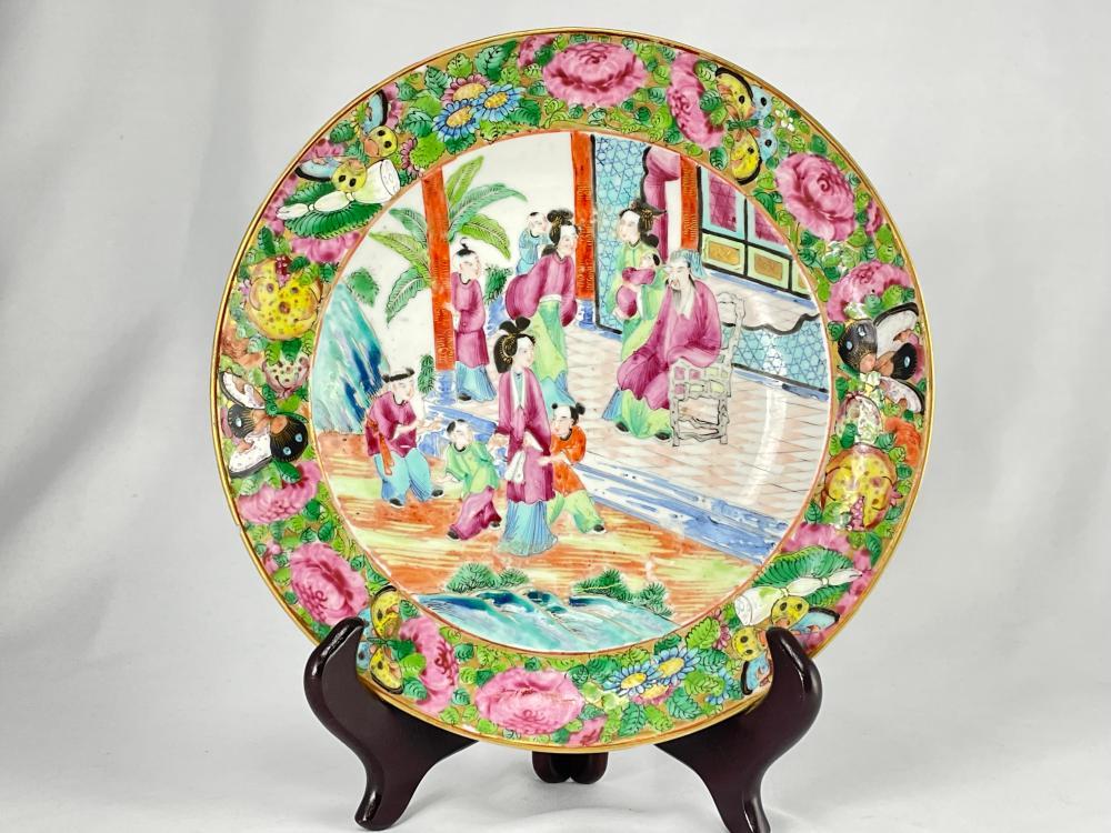 Chinese Famille Rose Porcelain Plate, Gilt Rim