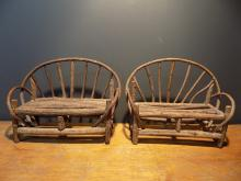 Pair of European Folk Art Miniature Garden Benches