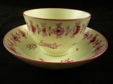 Tea Bowl and Saucer. Unmarked but likely New Hall ca. 1790.
