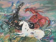 Esther Peretz Arad, Mixed Media, Wild Horses