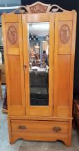 Early 20th Century Art Nouveau Style Wood Armoire