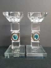Pair of Modern Crystal Candlesticks with Applied Jewels