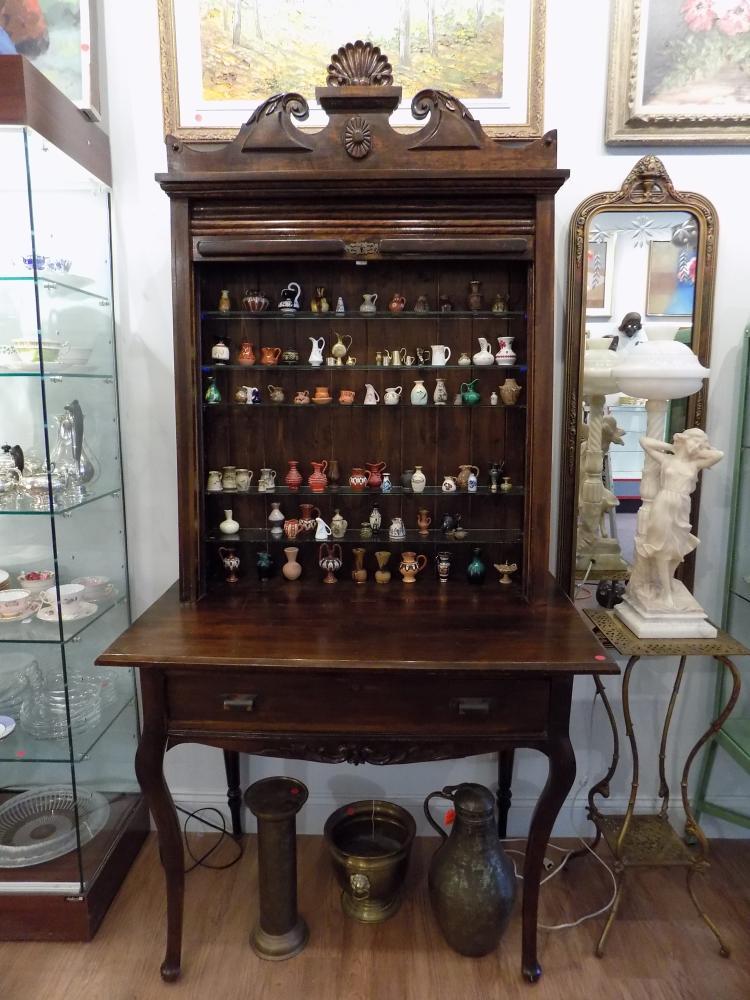 Wooden Roll Top Display Cabinet Desk