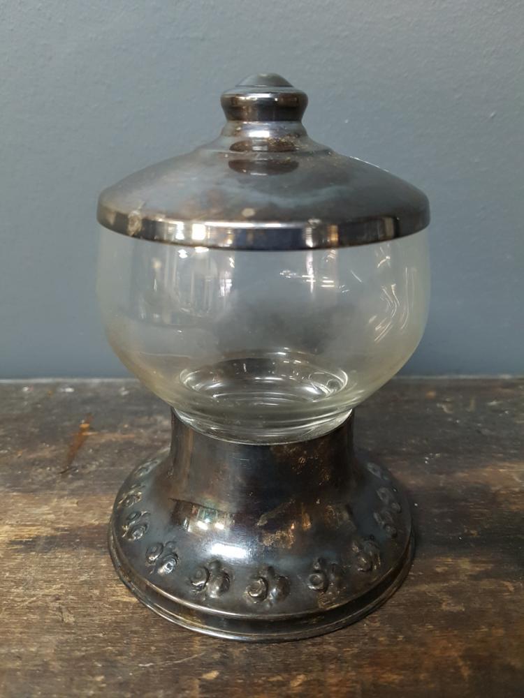 Silver and glass jar for Designer glass jars