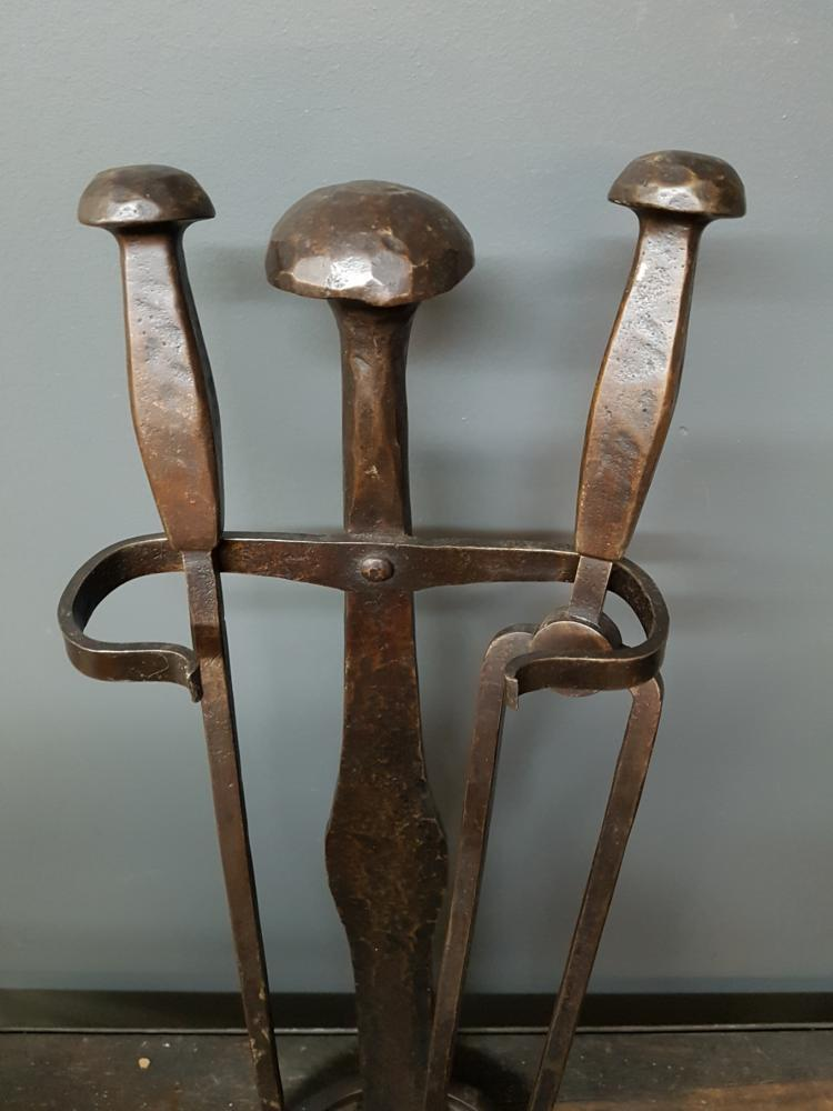 Arts and crafts wrought iron fire tools for Arts and crafts tools
