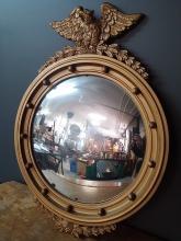 American Convex Mirror with Eagle Decoration