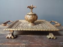 European Bronze Gryphon Inkwell