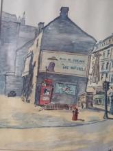 Montreal Scene Watercolor Monogrammed H.P.