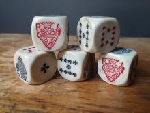 Set of 5 French Bakelite Poker Dice