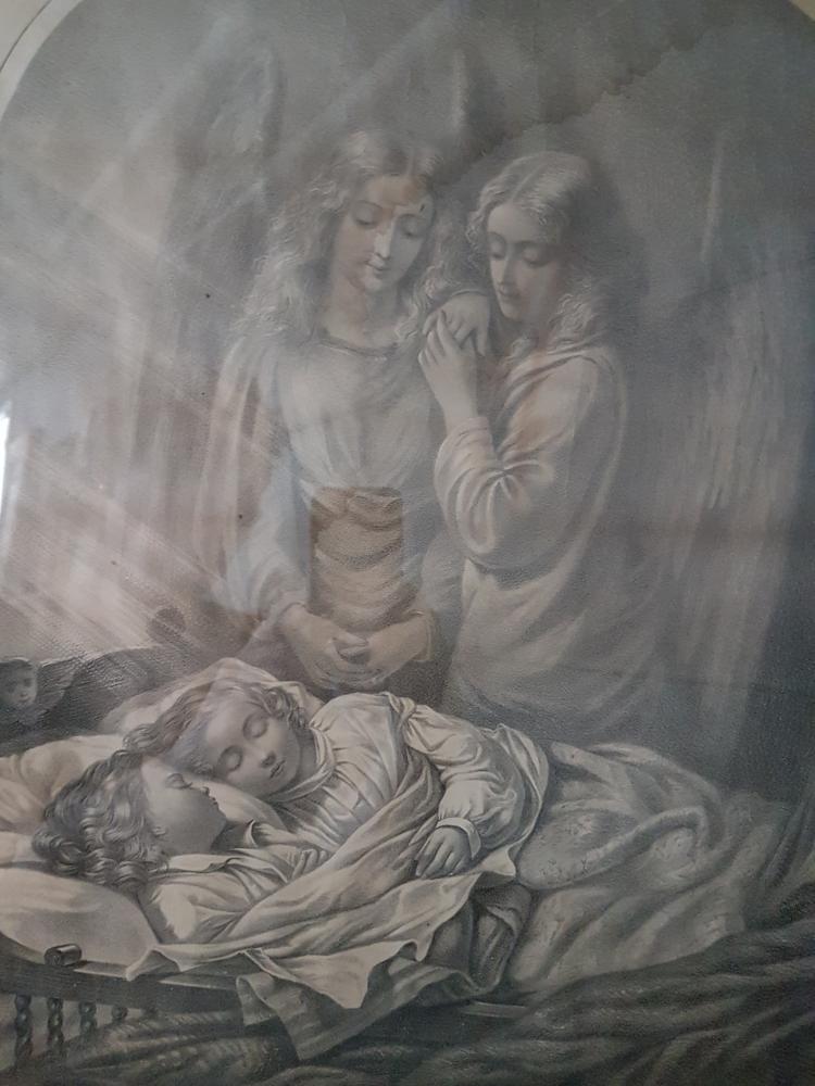 antique religious print guardian angels. Black Bedroom Furniture Sets. Home Design Ideas