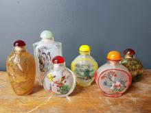 Lot of 6 Reverse Painted Chinese Snuff Bottles