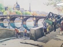 Andre Krafft (French 1911-1986) Watercolor on Paper, Parisian Street Scene