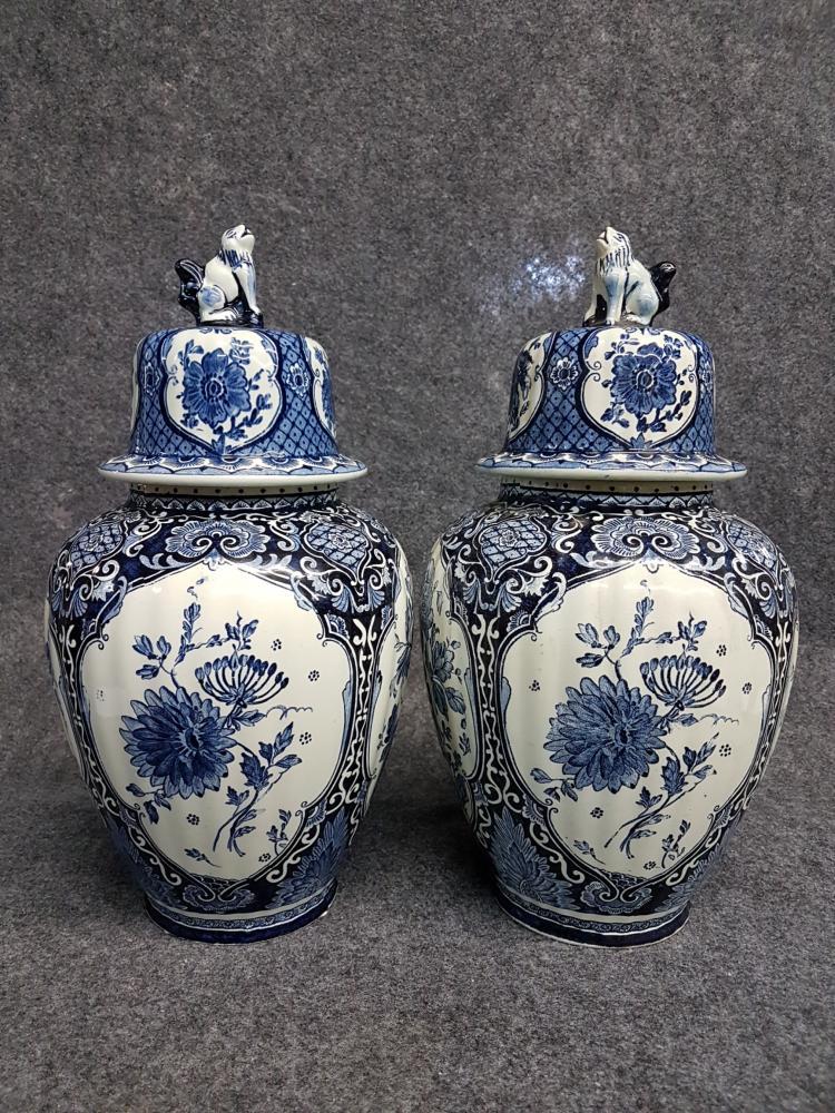 Pair of Boch Royal Sphynx Delfts Lidded Vases