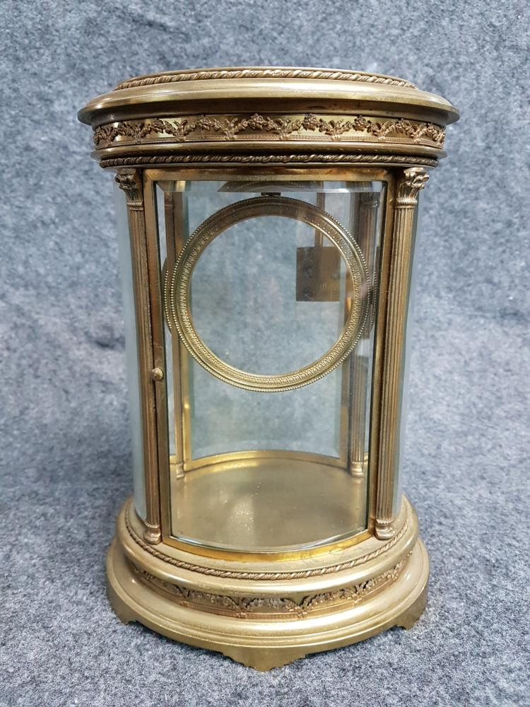 19th Century French Curved Beveled Glass Clock Case
