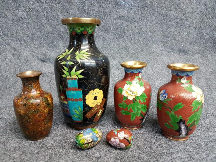 Lot of 6-pieces of Chinese Cloisonne