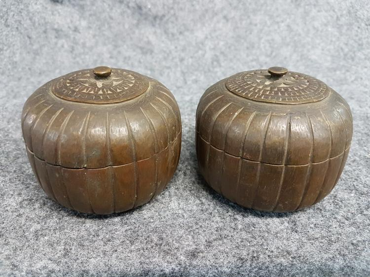 Pair of Antique Japanese Bronze Boxes